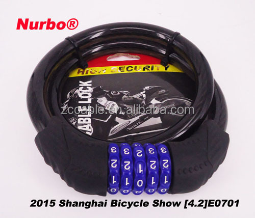 Durable 4 digital bick lock code combination steel bicycle cable lock password pad lock Nurbo SL8601