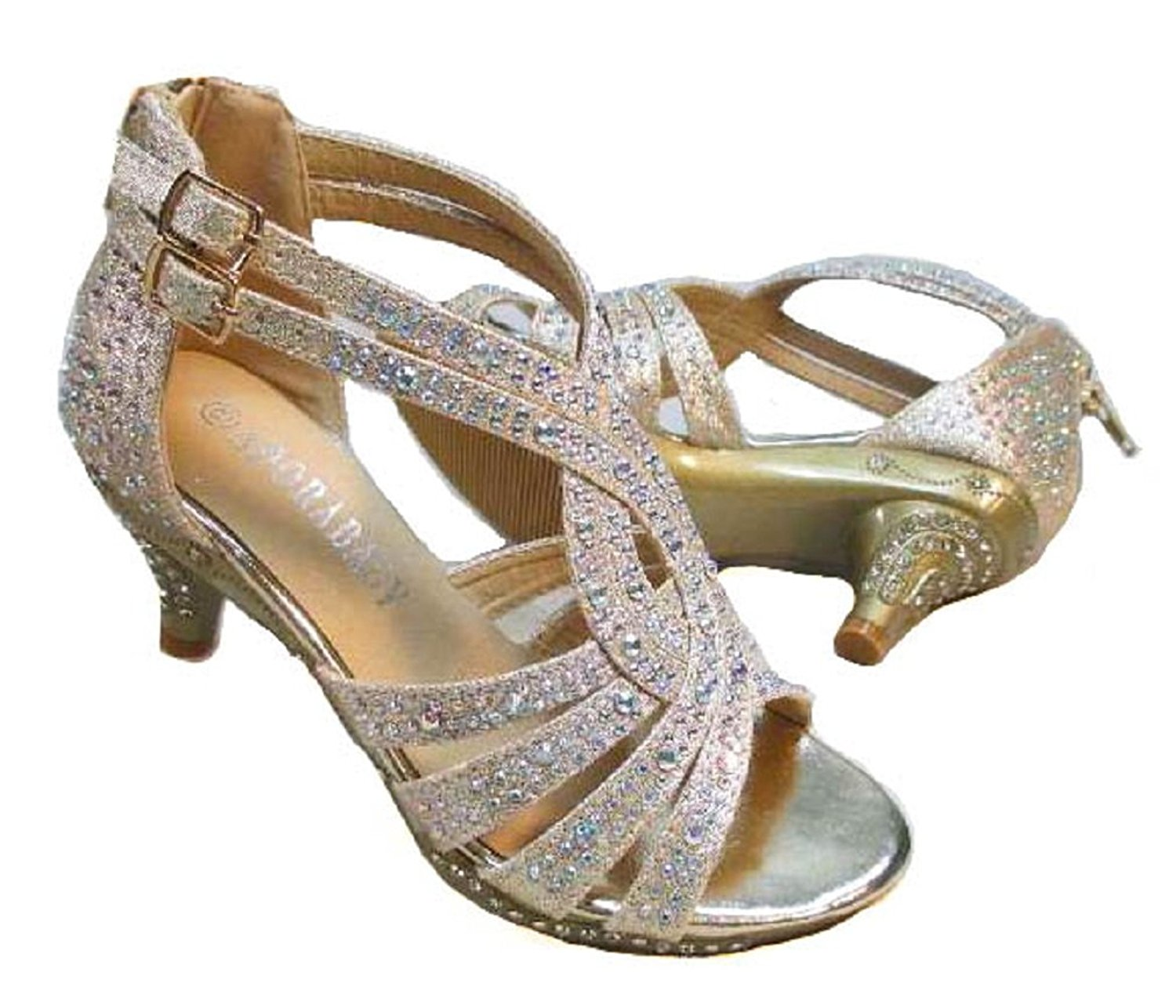 90741ce2d Get Quotations · Adorababy Girls Dress Shoes Rhinestone Pageant Heels  Champagne 4