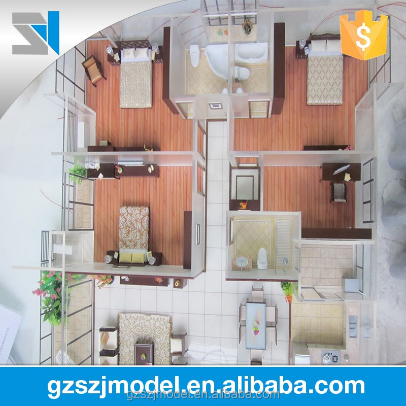 Abs interior scale model with floor plan , architectural model for real estate