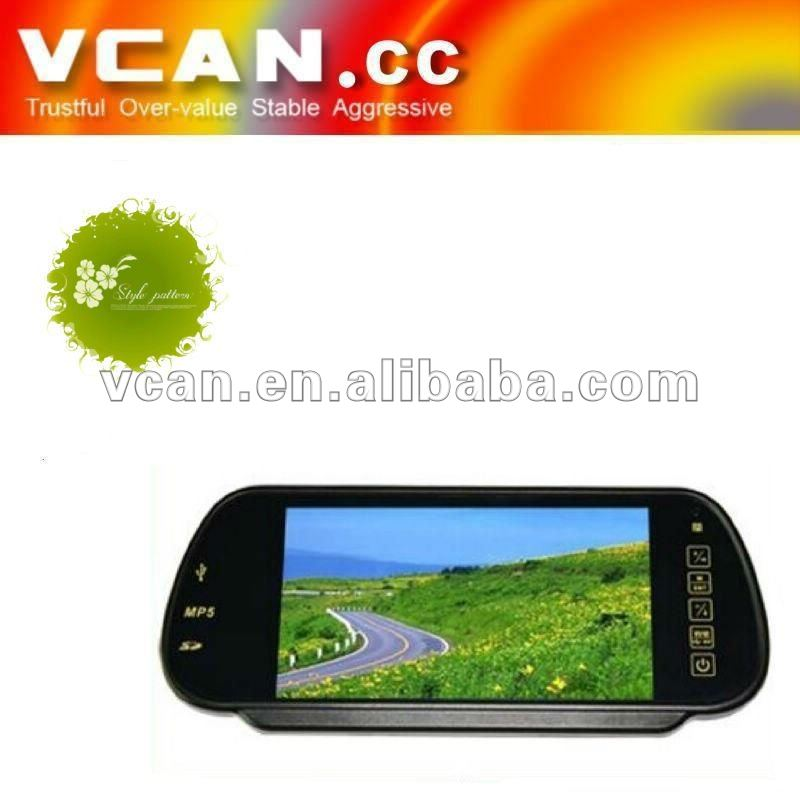 7 inch car rearview mirror monitor with MP5+USB+SD+FM function//VCAN0275-9