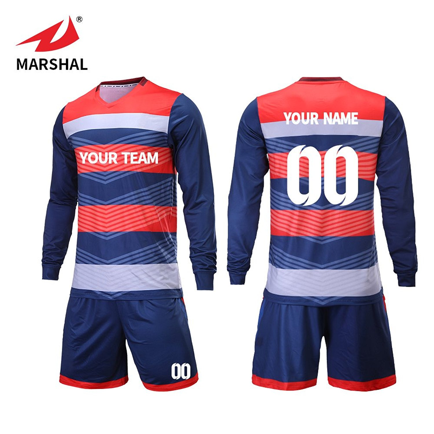 a5c0e35601f Get Quotations · Marshal Jersey Long Sleeves Custom Soccer Jersey Sets  Soccer Team Uniforms For Men With Numbers