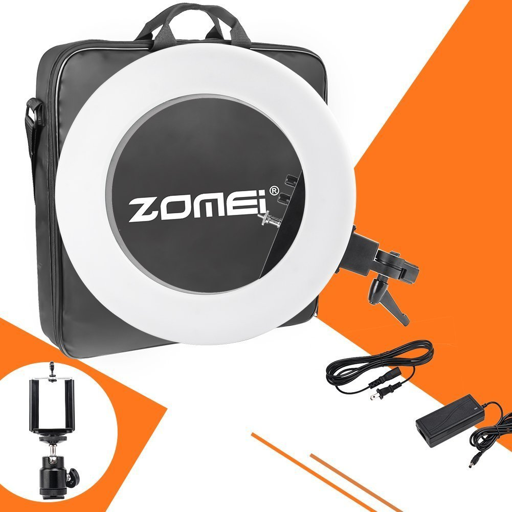 ZOMEI ZM-18-inch-light Camera Photo/Video Outer 480 Piece LED SMD Ring Light 5500K Dimmable Ring Video Light With Universal Phone Clamp Ball Head Hot Shoe Mount Adapter, 50W