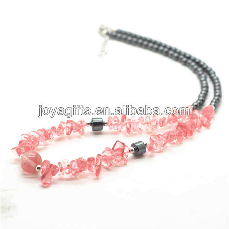 Hematite Neckalce with chip Cheery Quartz and Cheery Quartz 10MM Round Beads in middle