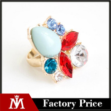Gemstone Rings for Women Gold Color Anel Bijouterie Big Ring Female Gifts