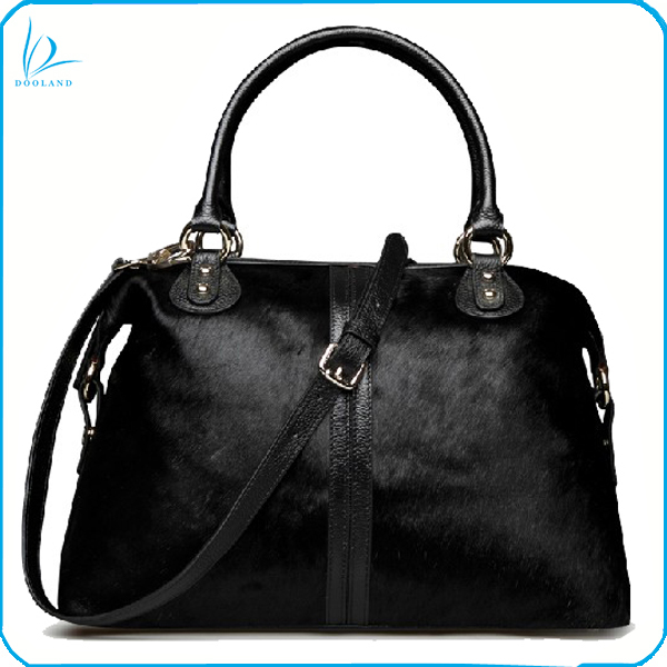 Cool design black cowhide hair handbag cow hair handbag