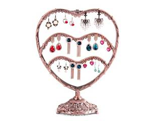 Shopready Heart-Shaped Table Top 58 Pairs Earring Holder / Earring Tree / Earring Organizer / Earrings Display Jewelry Rack Stand - Bronze