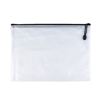 PVC Mesh Zipper Bag Waterproof File Folder Storage Bag Tarpaulin Document Bag