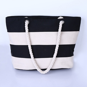 562e51c92f28 Small MOQ Red Black Navy and White Beige Wide Stripe Cotton Canvas Beach  Tote Shopping Bag Wholesale