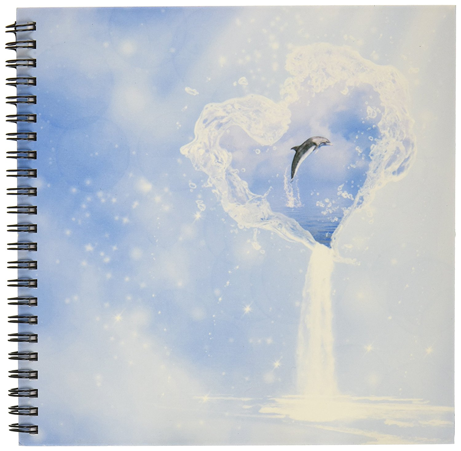 3dRose db_172223_1 Heart Ocean Waterfall Dolphin Blue Fantasy-Drawing Book, 8 by 8-Inch