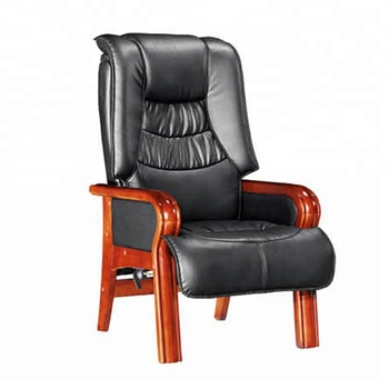 Comfortable wood leather chair - big and tall office conference chair D8019
