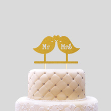 Wedding Birthday or Party Decoration Love Birds Mr and Mrs Design Paper Cake Topper