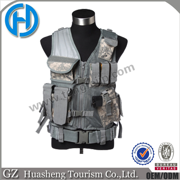 Utility Military Army Police Mesh Vest with Quick Draw Pistol Holster