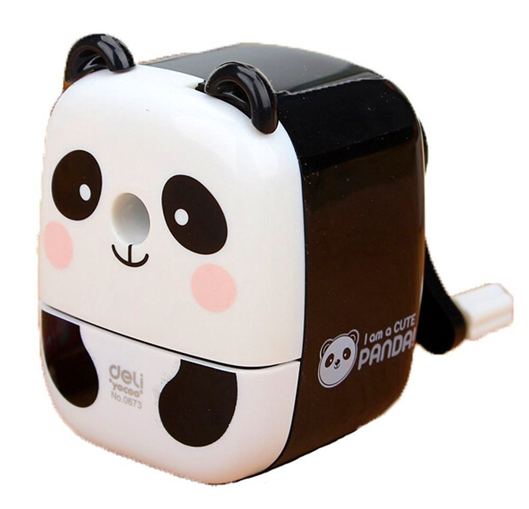 Kangkang@ Chinese Cute Panda Hand Rotating Pencil Sharpener for Office Classroom White Cutting Pen Implement the Panda Hand Cutting Machine Pencil Sharpeners Pencil Sharpener Students Stationery