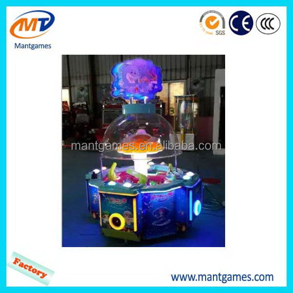 Good quality Rainbow water ball/best sell coin kids toy claw crane game machine