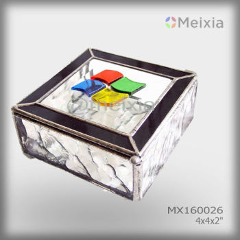 MX160026 Hot tiffany style customized bevel stained glass jewelry box