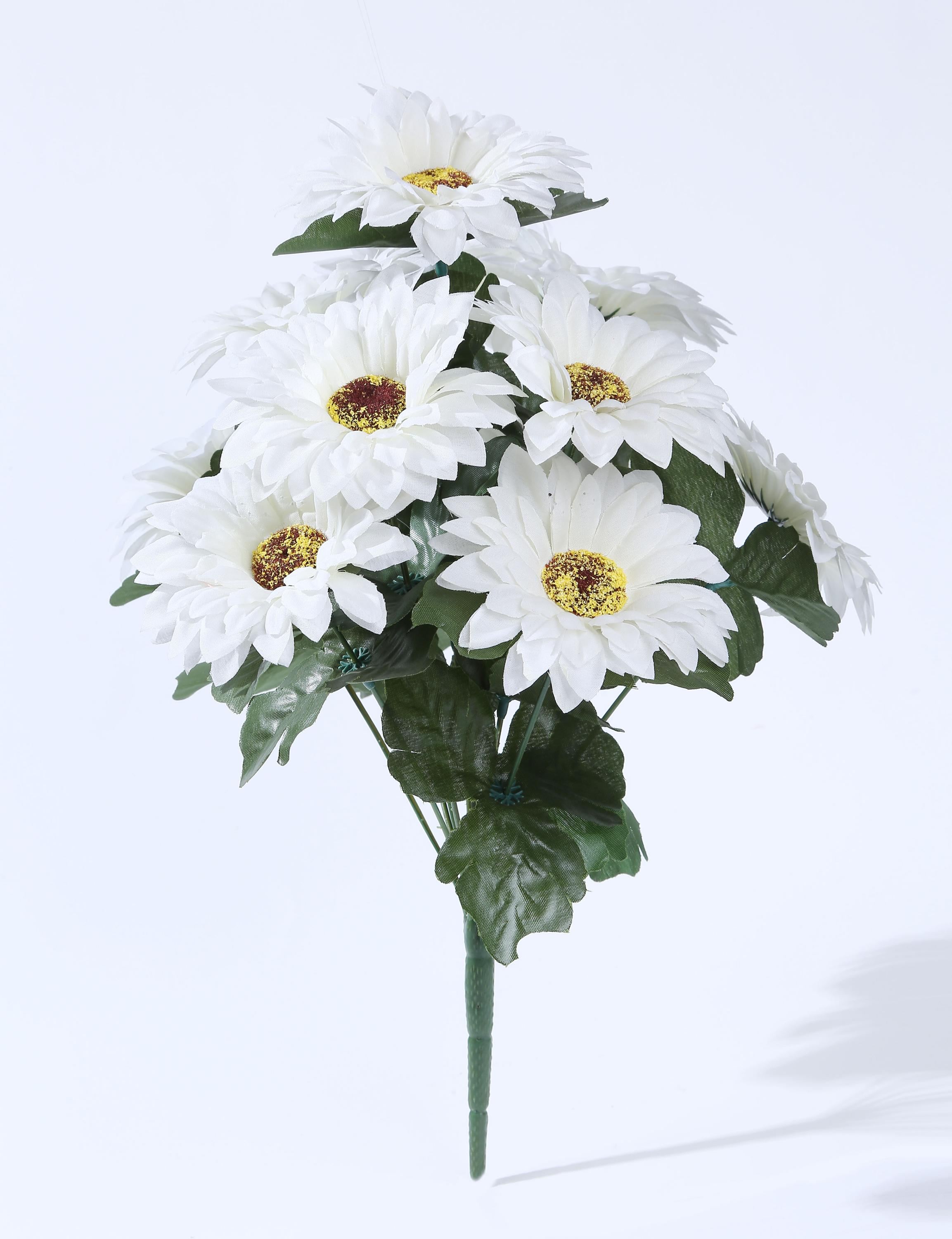 Yiwu Customized White Cheap Chrysanthemum Artificial Flower Fabric