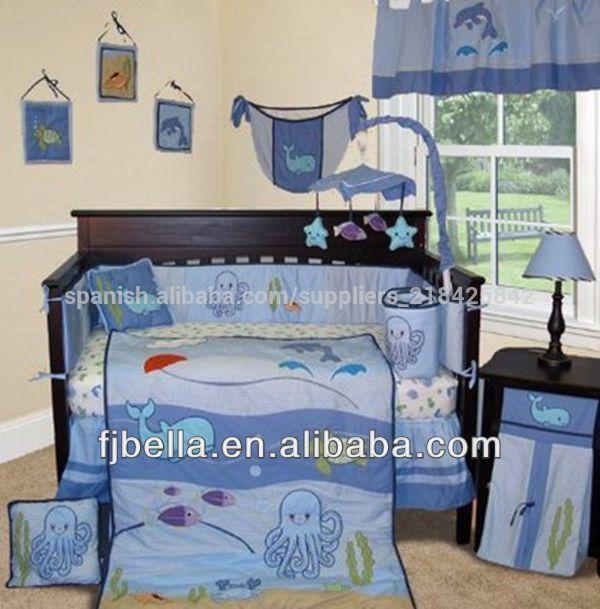 Bebé por encargo- ropa de cama bajo el mar 13 pcs cuna bebé vivero ...
