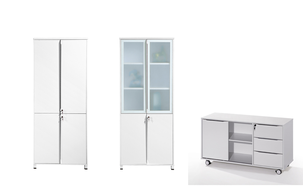 Cf 25mm Office White Color Tall File Cabinets Aluminum Frame Door Lockable High Filing