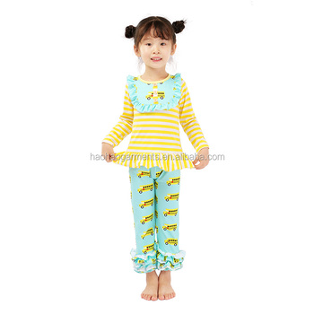 Cartoon Design Kids Clothes Ruffle Long Sleeve Car Printed Girls Set Matching Long Pants Cute Girls Outfit