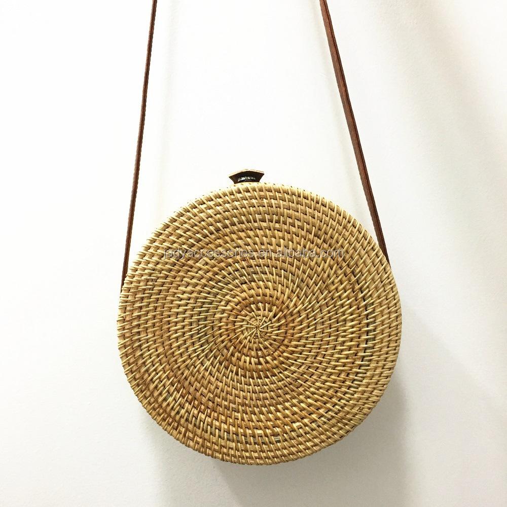 Bohemian Bali Rattan Bags For Women Small Circle Beach Handbags Summer Vintage Straw Bag Handmade Crossbody