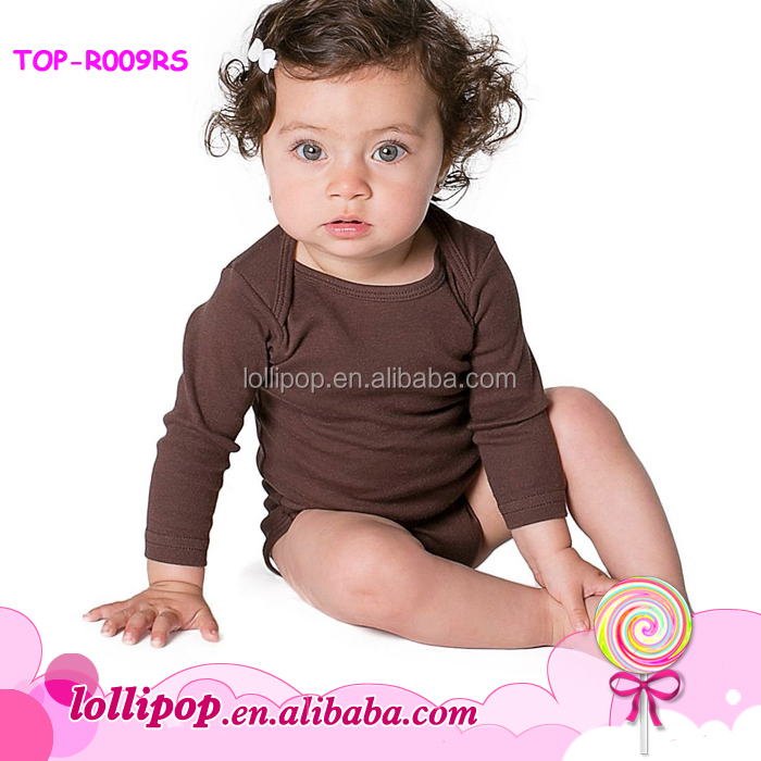 In stock! lap shoulder design baby cotton romper brown long sleeves blank infant rompers