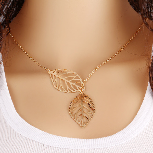 AB31 Wholesale Sexy simplicity Bright Double leaf clavicle chain necklace
