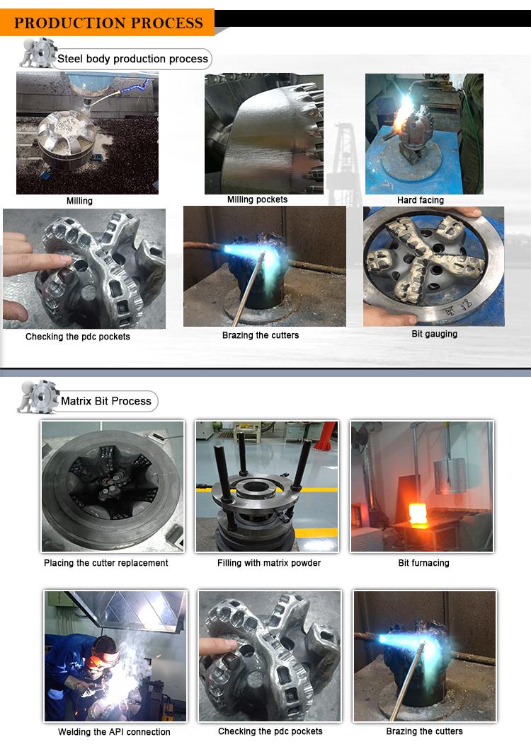 127mm 152mm 165mm 203mm 216mm diamant uitboren PDC bit matrix PDC bit voor olie boren