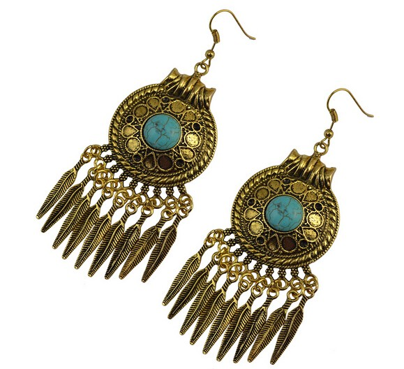 2016 Bohemian Fringed Leaves Tassels Vintage Turquoise Earrings