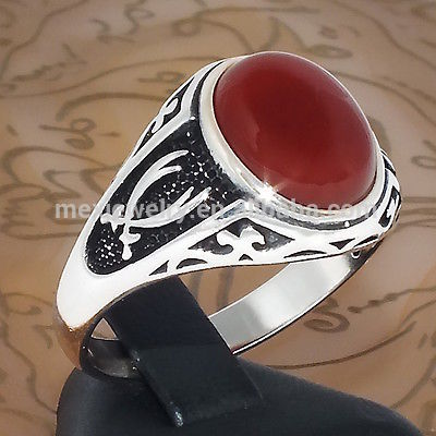 Retro Black Hot Sale 925 Sterling Silver Ruby Islamic ring with Carnelian Aqeeq Zulfiqar Dhulfiqar sword