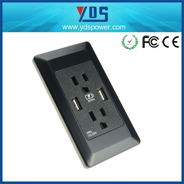 Usa Hot Sale New Technology Black Color 2 Gang Electrical Outlet Usb ...