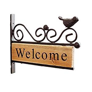 Retro Vintage Metal Bird Wood Welcome Sign Decorative Wall Mount Welcome Sign Plaque