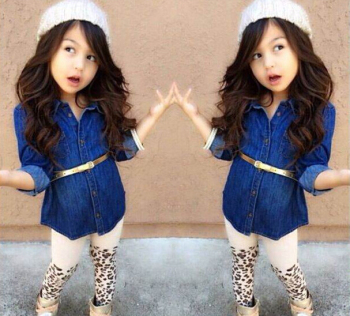 S12453A hot 2019 girls clothing Set European style baby girls denim long-sleeved shirt + Leopard Leggings Set