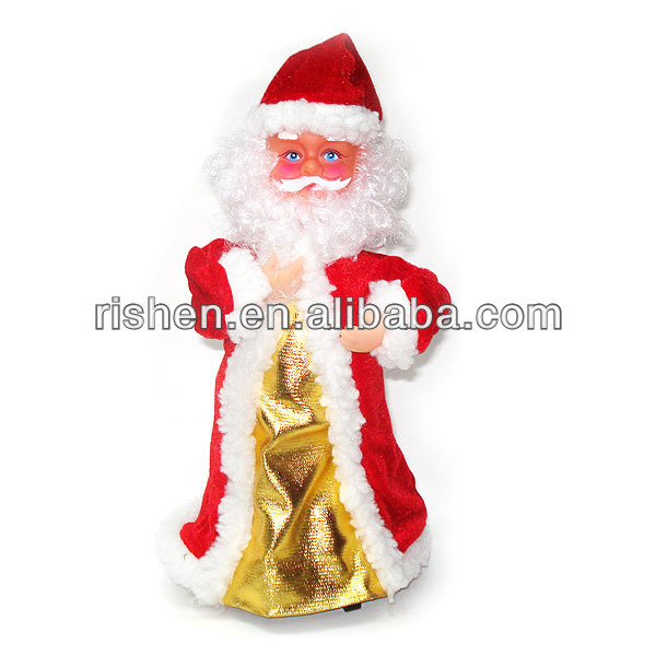 ced55f78a42ef 2015 Christmas decorations Singing and dancing Christmas musical doll toy  Santa claus twists on bottom Fabric