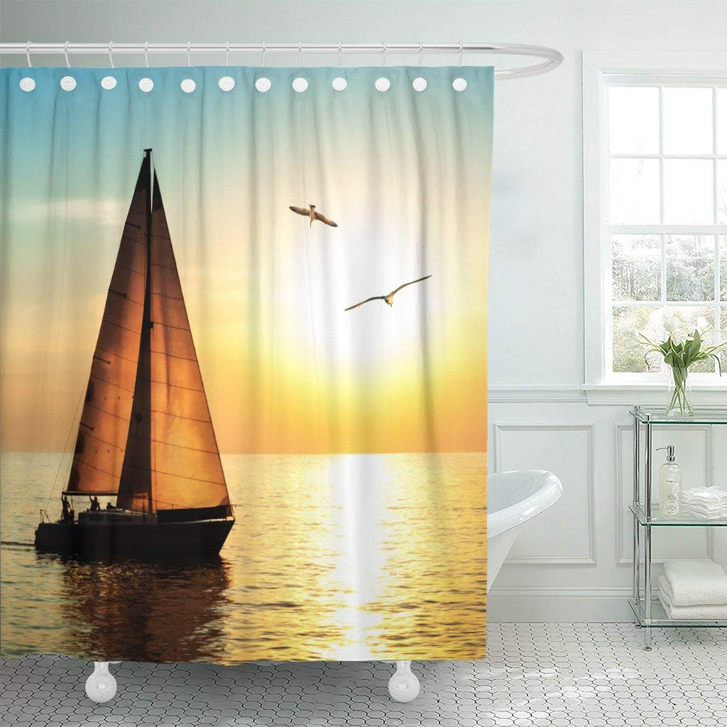 Get Quotations Emvency Shower Curtain Curtainsyacht Sailing Against Sunset Holiday Lifestyle Landscape With Skyline Sailboat 72X72