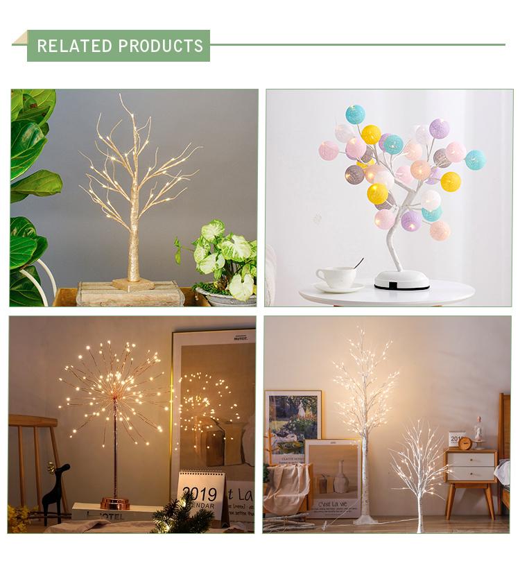 60 centímetros simulação mesa da sala interior decoração de Natal ao ar livre branco quente da bateria da luz da árvore de led ramo artificial
