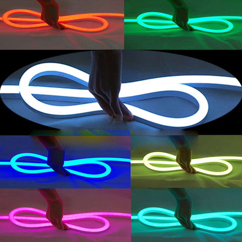 Grosir 8*15 Mm 24 V LED Neon Lampu RGB 60LED/M IP68 LED Neon Strip