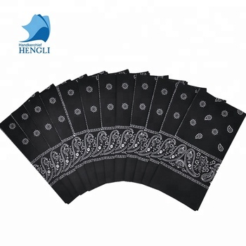 Soft 100% cotton blank white bandana classic paisley black bandana for face Cotton Bandana Usa