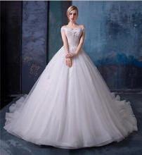 9dc4897cc Una línea elegante vestidos de novia hombro apliques Catedral tren tul  encaje vestidos de novia