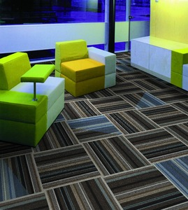 Heavy Traffic Use Cheap PP Striped Design Carpet Tile with PVC Backing