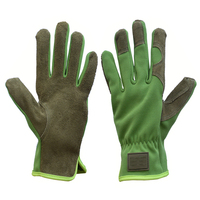 PRI Green premium water repellent split cowhide palm spandex back Mechanic gloves for safety work,leather gloves working