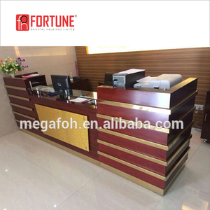OEM custom used office furniture in low price wooden front desk counter standing desk table(FOH-RCW32)