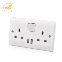 Wenzhou USB outlet 2 gang plug socket electrical wall switch