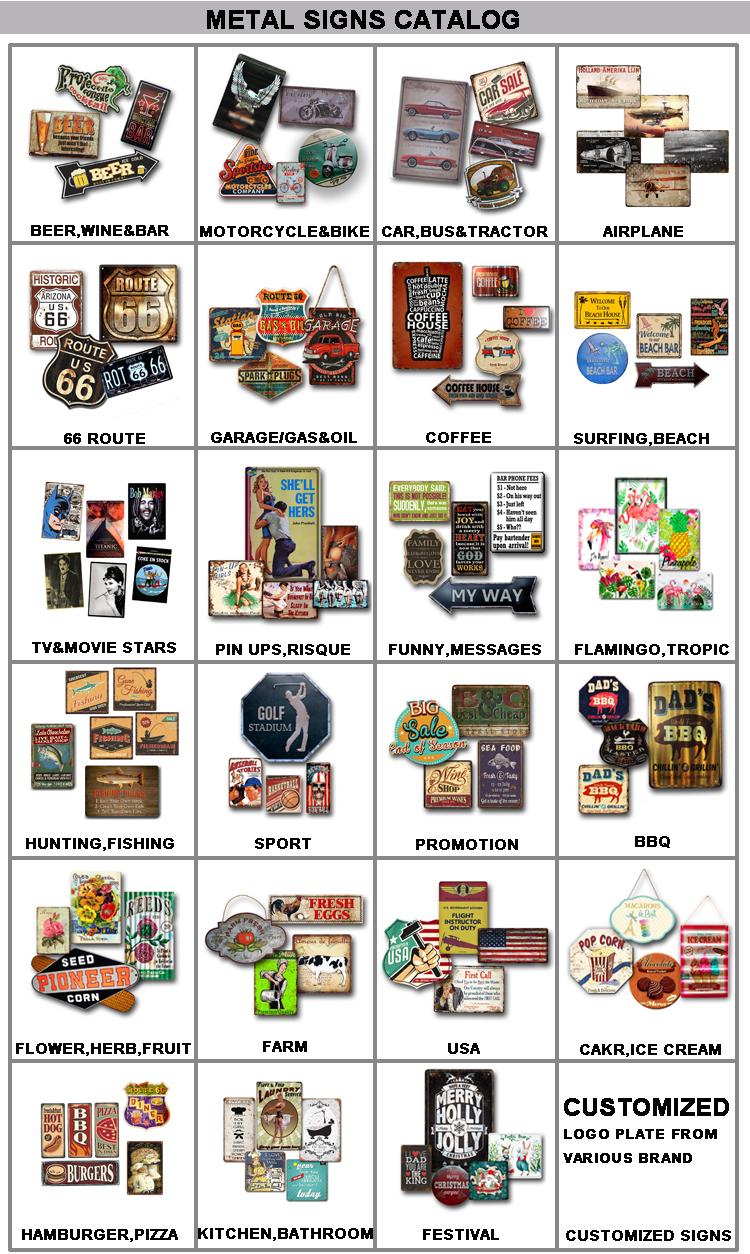 Personalizado Rota 66 Impressão Placa De Metal Da Lata Sinais para Home Bar Restaurante Decoração Retro Sinal Do Metal