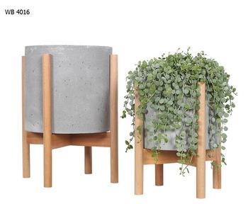 Beech Wood Stand Concrete Planter Pots