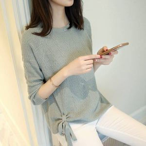 autumn crew neck long sleeve women causal knitted plain pullover ladies loose winter sweaters lace up