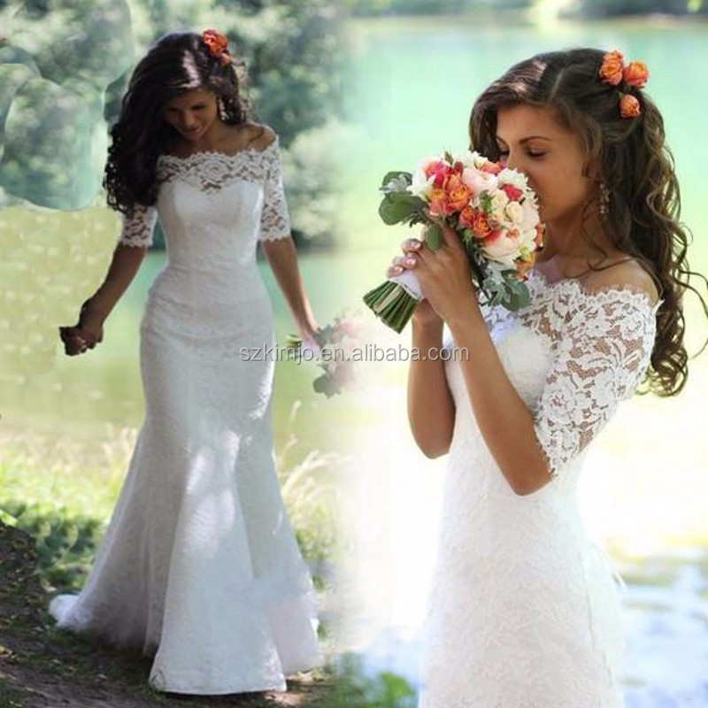 Alibaba Wholesale Cheap Mermaid Lace Wedding Dress With Half Sleeve Elegant Bridal Dresses