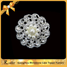 Fashion delicate clear crystal rhinestone white Pearl small flower Brooches for woman