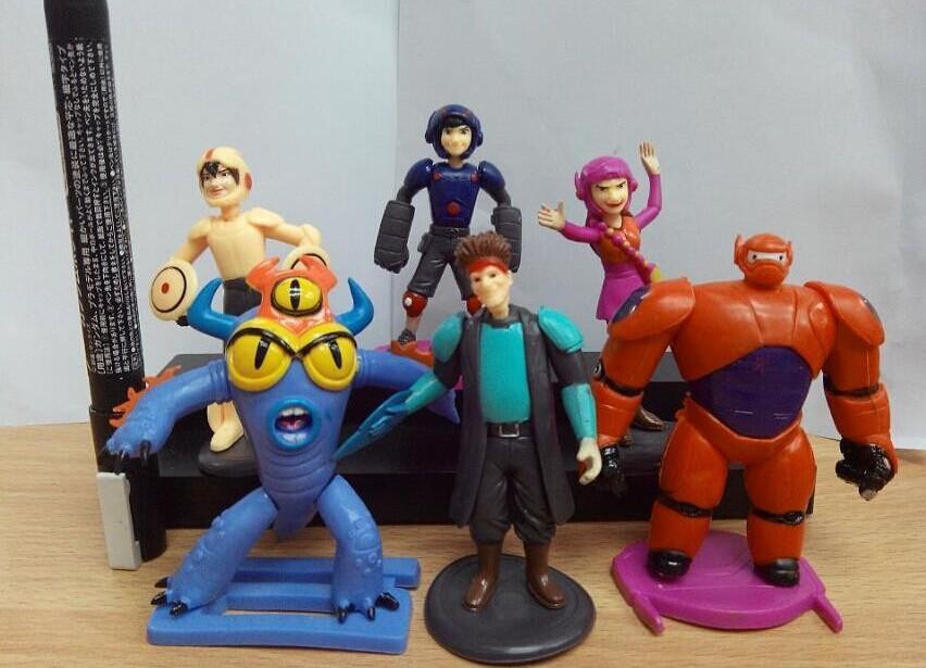 Hot Sale 6 Pcs /Lot big hero6 Baymax Action Figure Dolls PVC Toys Home Decoration Gift For Children