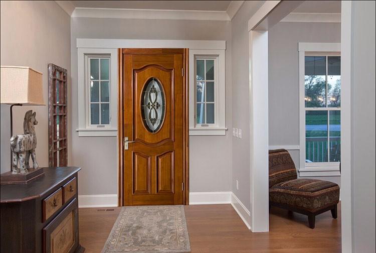 apartamento exterior de la puerta de cristal ovalada inserta la puerta moderna puerta de madera con