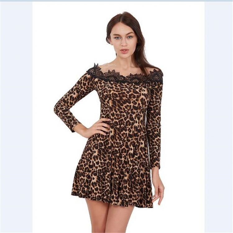 Women Leopard Print Casual Long Sleeve Mini Female Dress